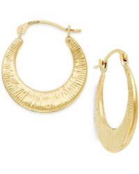 Macy's - Ribbed Hoop Earrings In 10k Gold - Lyst