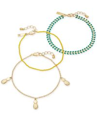 INC International Concepts - I.n.c. Gold-tone 3-pc. Set Stone, Bead & Pineapple Ankle Bracelets, Created For Macy's - Lyst