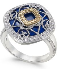 Macy's - Lapis Lazuli (15mm) Filigree Statement Ring In Sterling Silver & 14k Gold - Lyst