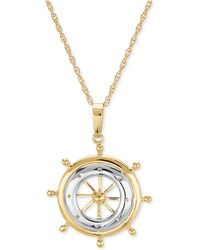 """Macy's - Two-tone Ship's Wheel 24"""" Pendant Necklace In 10k Gold - Lyst"""