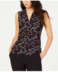 Nine West - Printed Inverted-pleat Top - Lyst