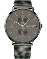 Tommy Hilfiger - Gunmetal Stainless Steel Mesh Bracelet Watch 40mm Created For Macy's - Lyst