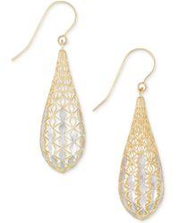 Macy's - Teardrop Openwork Two-tone Drop Earrings In 14k Gold And White Gold - Lyst