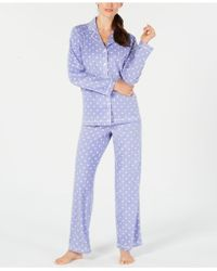 Charter Club - Printed Fleece Notched Collar Pajama Set, Created For Macy's - Lyst