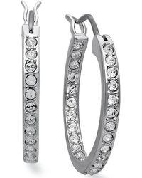 Swarovski   Earrings, Rhodium-plated Crystal Hoop Earrings   Lyst