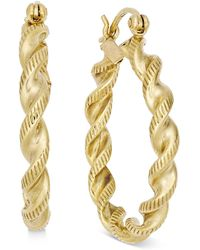 Macy's - Twisted Rope-style Hoop Earrings In 14k Gold - Lyst