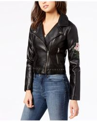 Maralyn & Me - Juniors' Embroidered Faux-leather Moto Jacket - Lyst