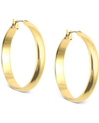 Anne Klein - Gold-tone Click-it Hoop Earrings - Lyst