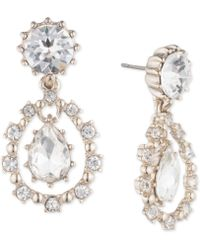 Marchesa - Gold-tone Crystal Double Drop Earrings - Lyst