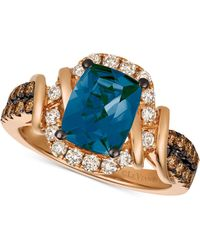 Le Vian - Chocolate & Nudetm Deep Sea Blue Topaztm (2-1/10 Ct. T.w.) & Diamond (5/8 Ct. T.w.) Ring In 14k Rose Gold - Lyst