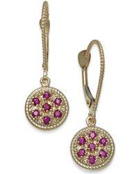 Macy's - Ruby (3/8 Ct. T.w.) & Diamond Accent Drop Earrings In 14k Gold - Lyst