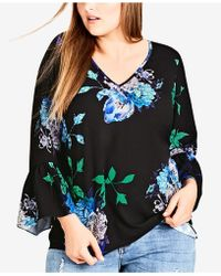 City Chic - Trendy Plus Size Floral-print Top - Lyst
