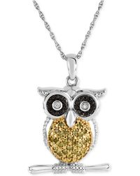 Macy's - Diamond Owl Pendant Necklace (1/10 Ct. T.w.) In Sterling Silver - Lyst