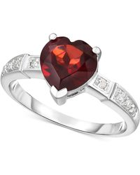 Macy's - Garnet (1-3/4 Ct. T.w.) & Diamond Accent Ring In 14k White Gold - Lyst