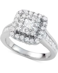 Macy's - Diamond Square Halo Ring (2 Ct. T.w.) In 14k White Gold - Lyst