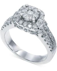 Effy Collection - Bouquet By Effy Diamond Square Halo Engagement Ring In 14k White Gold (1-1/4 Ct. T.w.) - Lyst