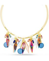 Kensie - Rhinestone Retro Design Choker Dangle Charm Necklace - Lyst