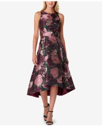 Tahari - Metallic Jacquard Midi Dress - Lyst