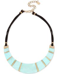 """Robert Lee Morris - Gold-tone Imitation Mother-of-pearl & Leather Statement Necklace, 15"""" + 3"""" Extender - Lyst"""