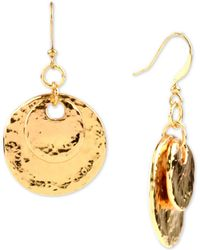 Charter Club - Gold-tone Hammered Double Disc Drop Earrings, Created For Macy's - Lyst