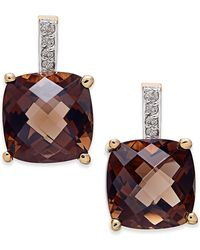Macy's - Smoky Quartz (6-1/5 Ct. T.w.) And Diamond Accent Drop Earrings In 14k Gold - Lyst