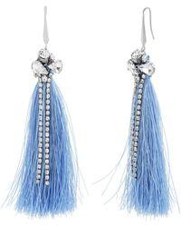 Catherine Malandrino - Clustered White Rhinestone Blue Tassel Silver-tone Hook Earrings - Lyst