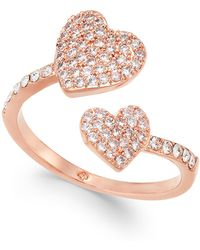Kate Spade - Rose Gold-tone Pavé Heart Ring - Lyst