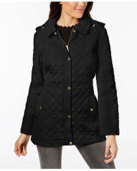 Jones New York - Hooded Quilted Coat - Lyst