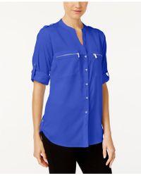Calvin Klein | Roll-tab-sleeve Zip-pocket Blouse | Lyst