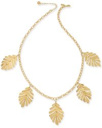 "Kate Spade - Gold-tone Leaf Statement Necklace, 28""+ 3"" Extender - Lyst"