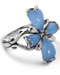 Carolyn Pollack - Blue Jade Cross Ring In Sterling Silver - Lyst