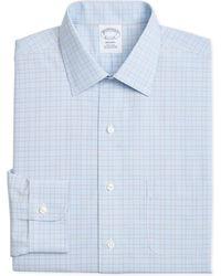 Brooks Brothers - Regent Slim-fit Non-iron Blue Brown Overcheck Dress Shirt - Lyst