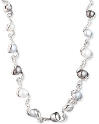 "Carolee - Silver-tone Twisted Ribbon, Crystal & Freshwater Pearl (9-11mm) 16"" Collar Necklace - Lyst"