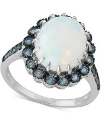Macy's - Cubic Zirconia Simulated Opal Statement Ring In Sterling Silver - Lyst