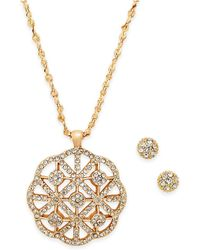 Charter Club - Gold-tone Pavé Filigree Pendant Necklace & Pavé Cluster Stud Earrings Set - Lyst