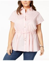 Tommy Hilfiger - Plus Size Drawstring-waist Blouse, Created For Macy's - Lyst