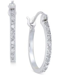 Macy's - Diamond Hoop Earrings (1/10 Ct. T.w.) In Sterling Silver - Lyst