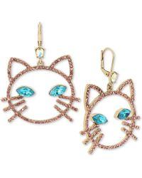Betsey Johnson - S Pink Stone Open Cat Face Drop Earrings - Lyst