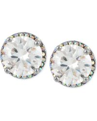 Betsey Johnson | Silver-tone Crystal Round Stud Earrings | Lyst