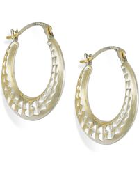 Macy's - Diamond-cut Hoop Earrings In 10k Gold - Lyst