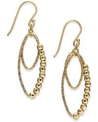 Giani Bernini - Beaded Oval Double Drop Earrings In 18k Gold-plated Sterling Silver, Created For Macy's - Lyst
