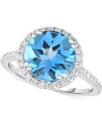 Macy's - Blue Topaz (4 Ct. T.w.) & Diamond (1/2 Ct. T.w.) Ring In 14k White Gold - Lyst