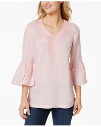 Charter Club - Linen Embellished Caftan Top, Created For Macy's - Lyst