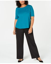 Eileen Fisher - Plus Size Organic Cotton Elbow-sleeve Top - Lyst