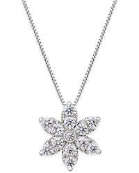 Macy's - Diamond Starburst Pendant Necklace (1 Ct. T.w.) In 14k White Gold - Lyst