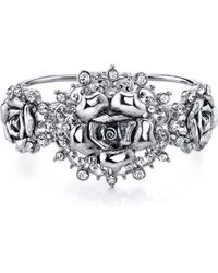 2028 - Silver-tone Crystal Flower Hinged Bracelet - Lyst
