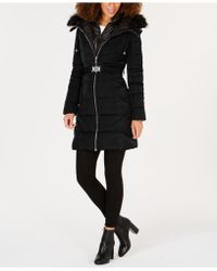 Guess - Faux-fur-trim Hooded Belted Puffer Coat - Lyst