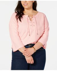 cbae61f5615 Tommy Hilfiger Cotton Striped Lace-up Top, Created For Macy's in ...