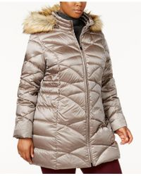 Jones New York | Plus Size Faux-fur-tim Down Puffer Coat | Lyst