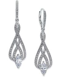 Danori - Silver-tone Marquise Crystal And Pavé Drop Earrings - Lyst